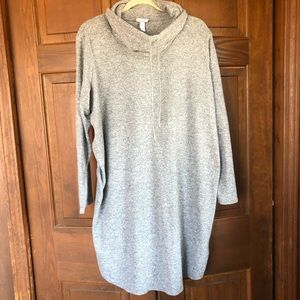 ISABEL MATERNITY COWL NECK LONG SWEATER GRAY 1X
